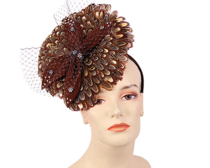 Women's Feather Church Fascinator Hats in Brown - HK82