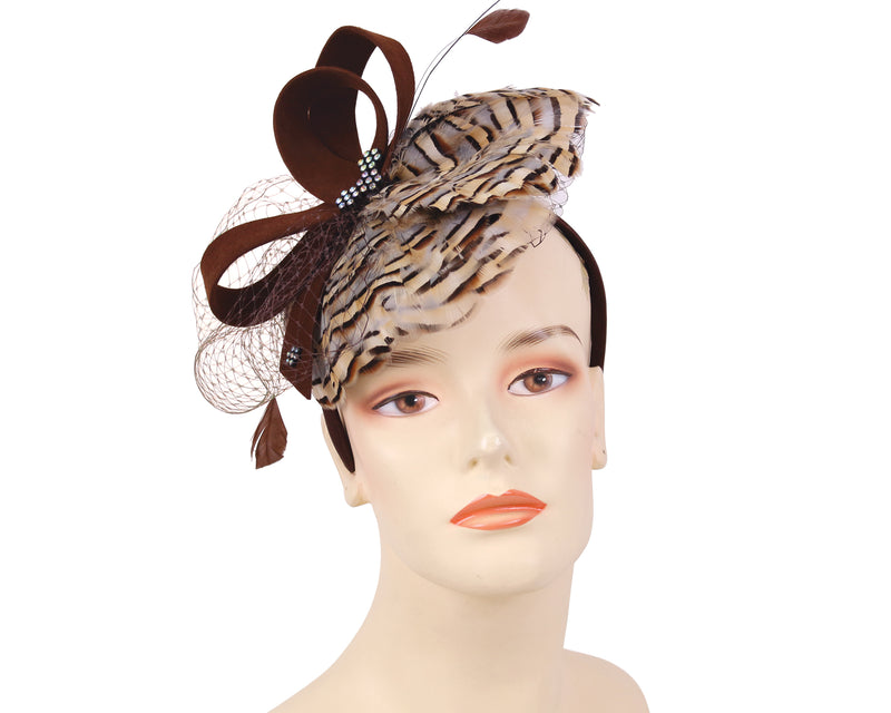 Women's Felt Church Fascinator Hats in Brown