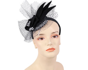 Women's Felt Church Fascinator Hats in Black