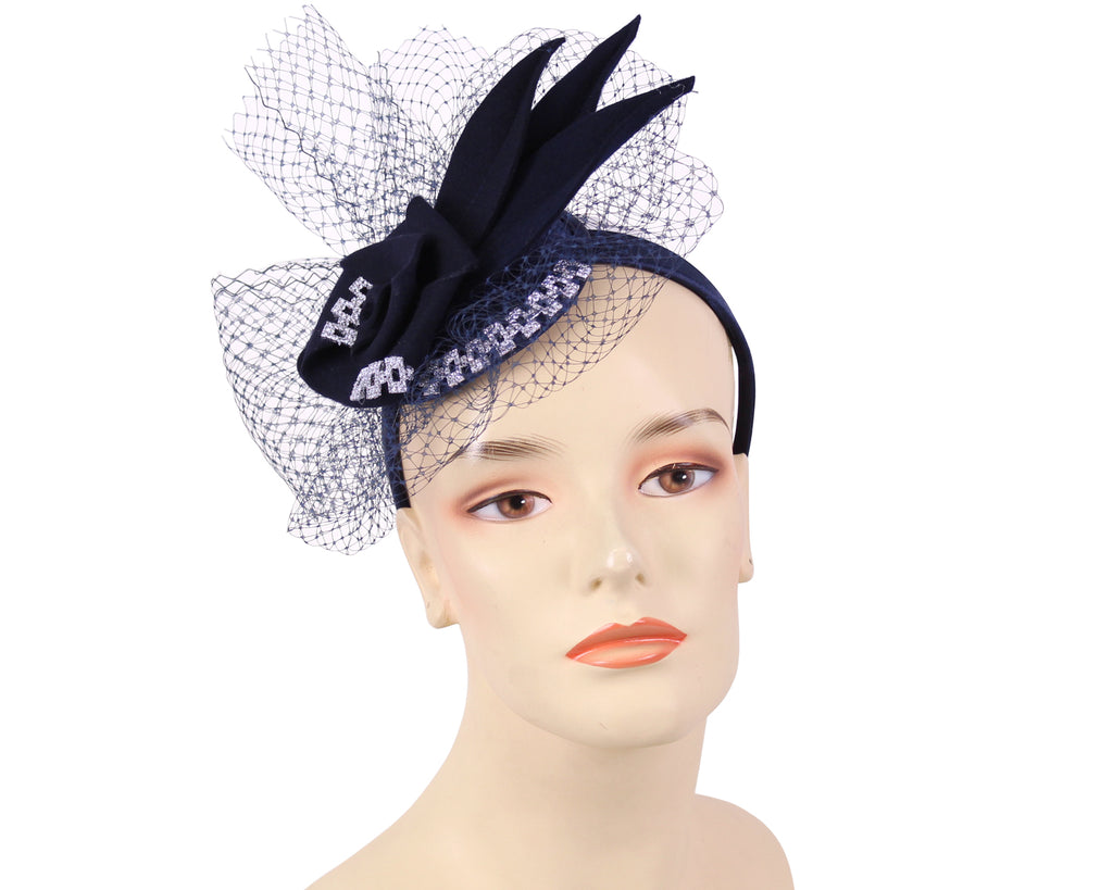 Women's Felt Church Fascinator Hats in Navy,