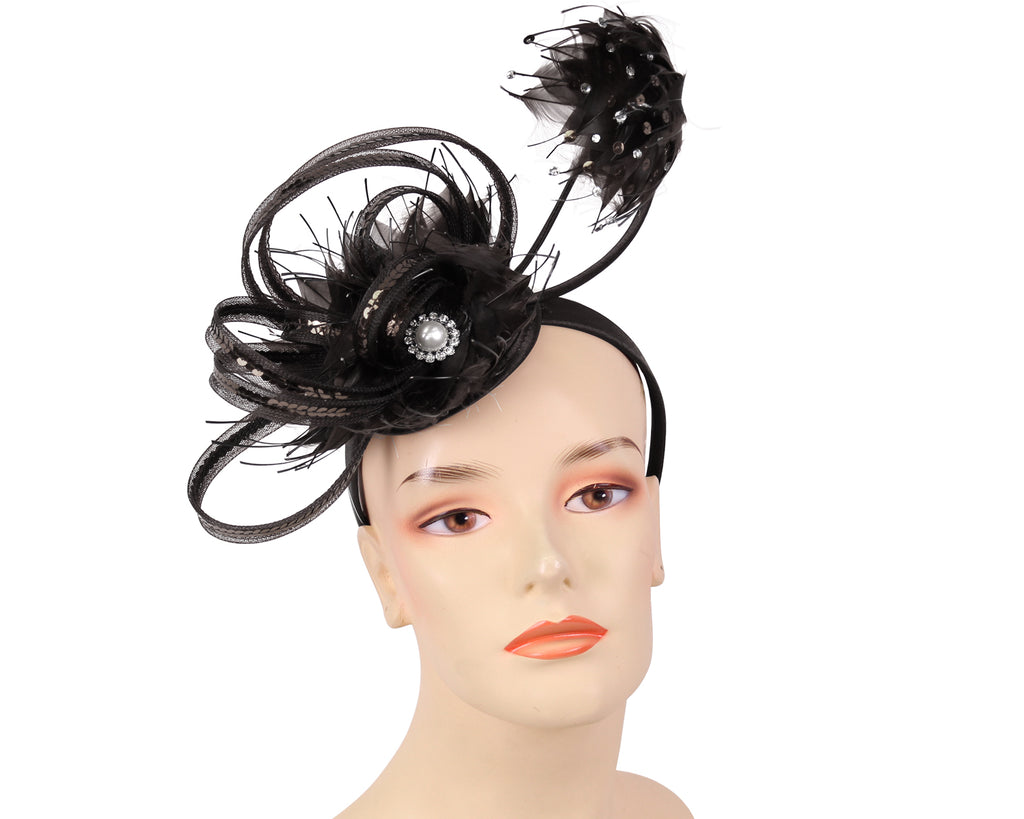 Women's Church Derby Fascinator Hats in Black - HK86