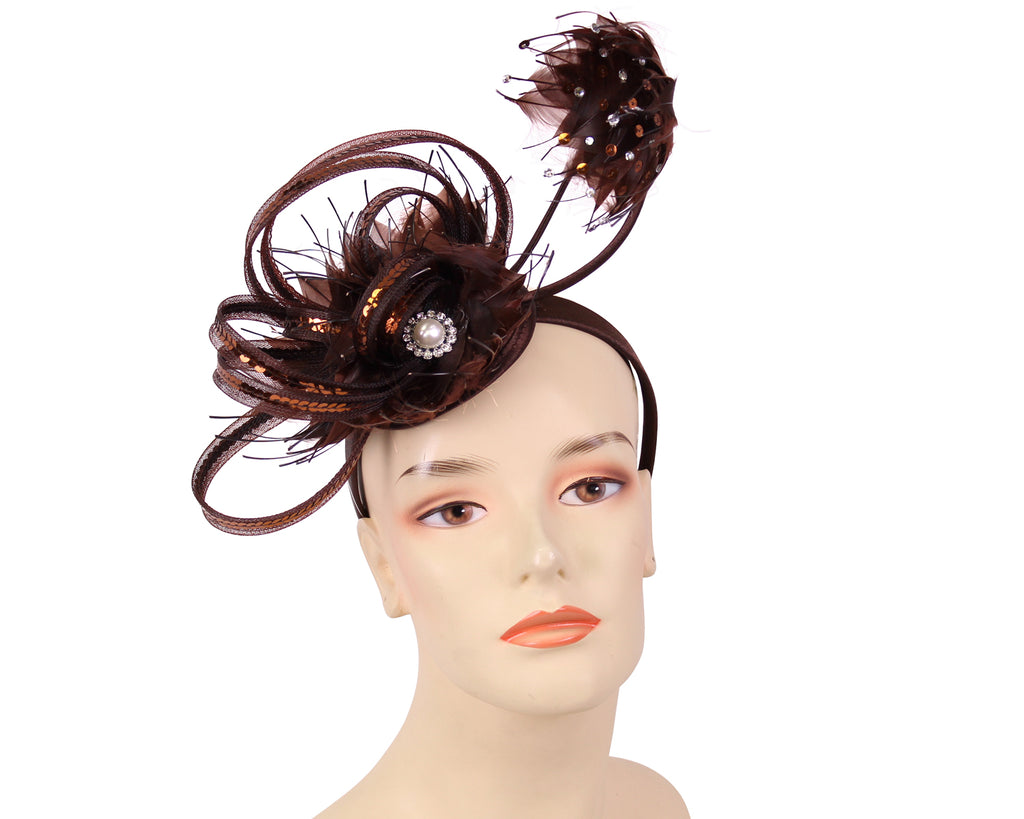 Women's Church Derby Fascinator Hats in Brown - HK86