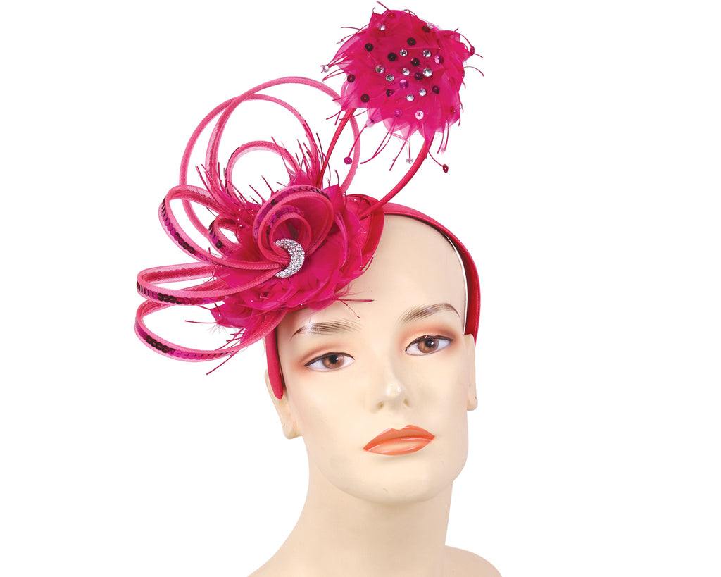 Women's Church Derby Fascinator Hats in Fuchsia - HK86