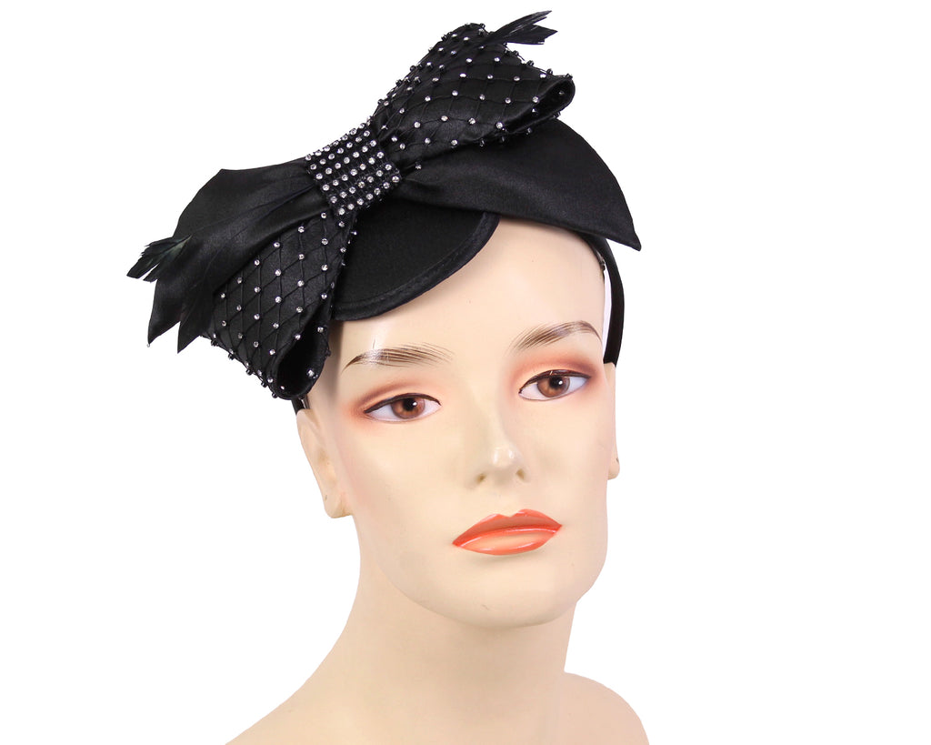 Women's Satin Church Fascinator in Black,