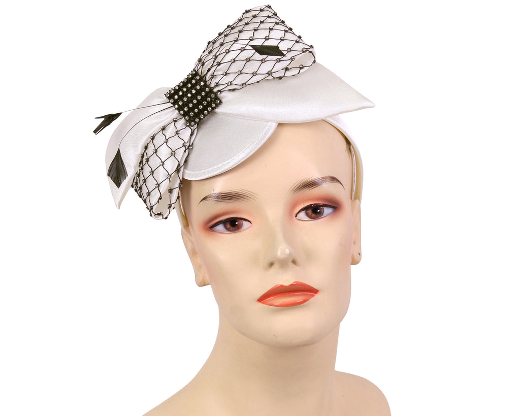 Women's Satin Church Fascinator in Ivory,