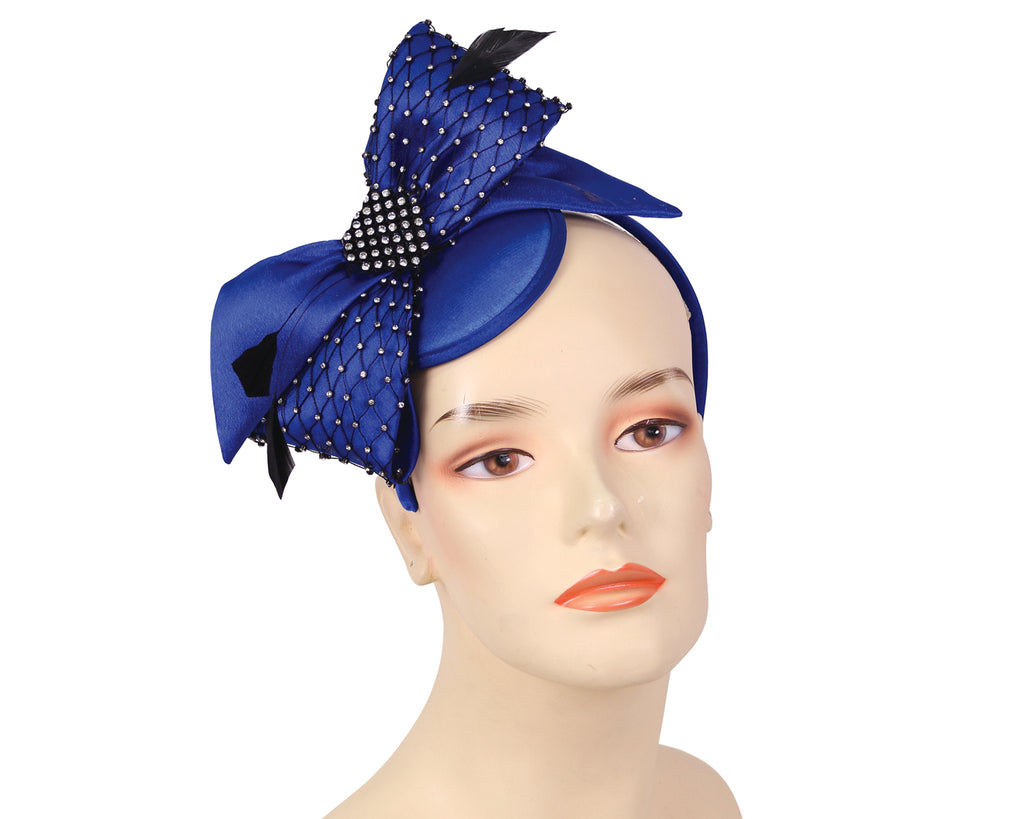 Women's Satin Church Fascinator Hats in Royal Blue