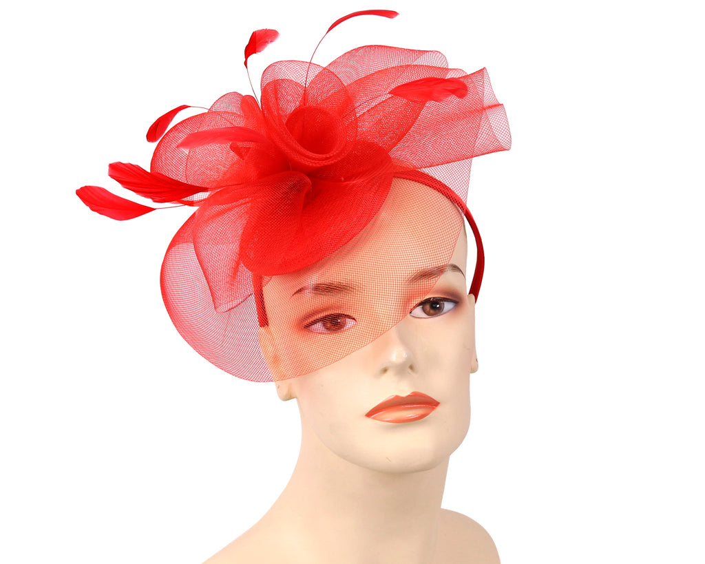 Women's Fascinator Church Hats in Red