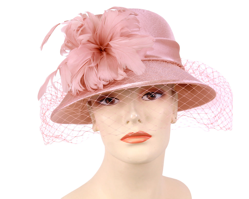 Women's Satin Church Derby Hats in Mauve