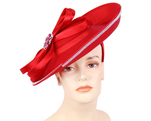 Women's Satin Church Derby Hats in Red