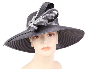 Women's Satin Formal Dress Church Derby Hats in Charcoal