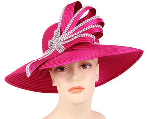 Women's Satin Formal Dress Church Derby Hats in Fuchsia