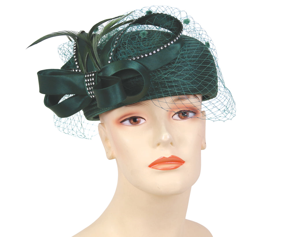 Women's Satin Pill-box Dress Church Hats in Forest Green