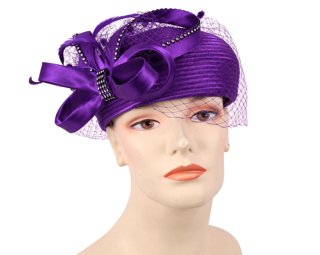 Women's Satin Pill-box Dress Church Hats in Purple