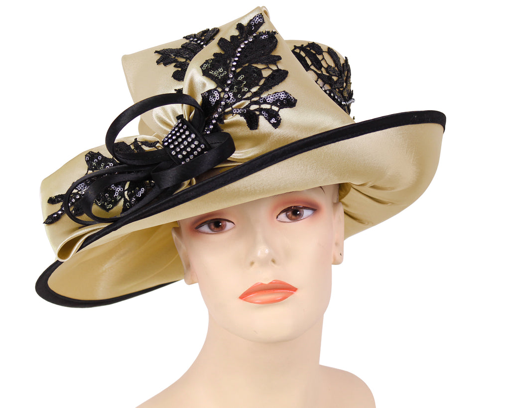 Women's Satin Formal Church Derby Hats Beige/Black - HL116