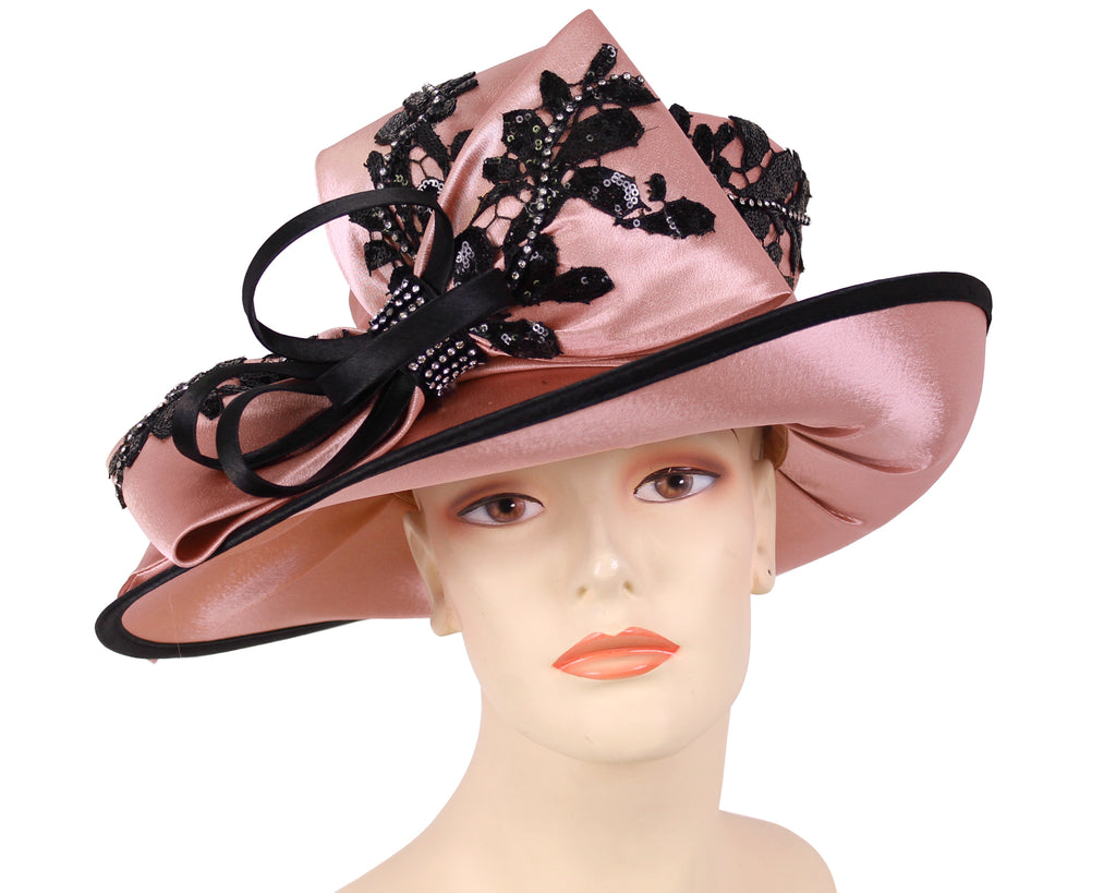 Women's Satin Formal Church Derby Hats in Mauve/Black - HL116
