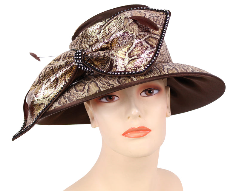 Women's Satin Animal Print Church Derby Hats in Black/Silver - HL117