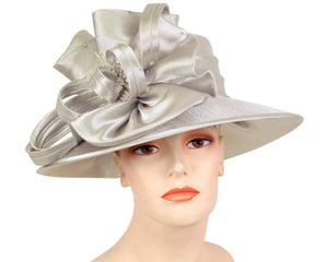 Women's Satin Formal Church Derby Hats in Gold, Silver - HL123