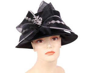 Women's Satin Church Derby Hats in Black - HL127