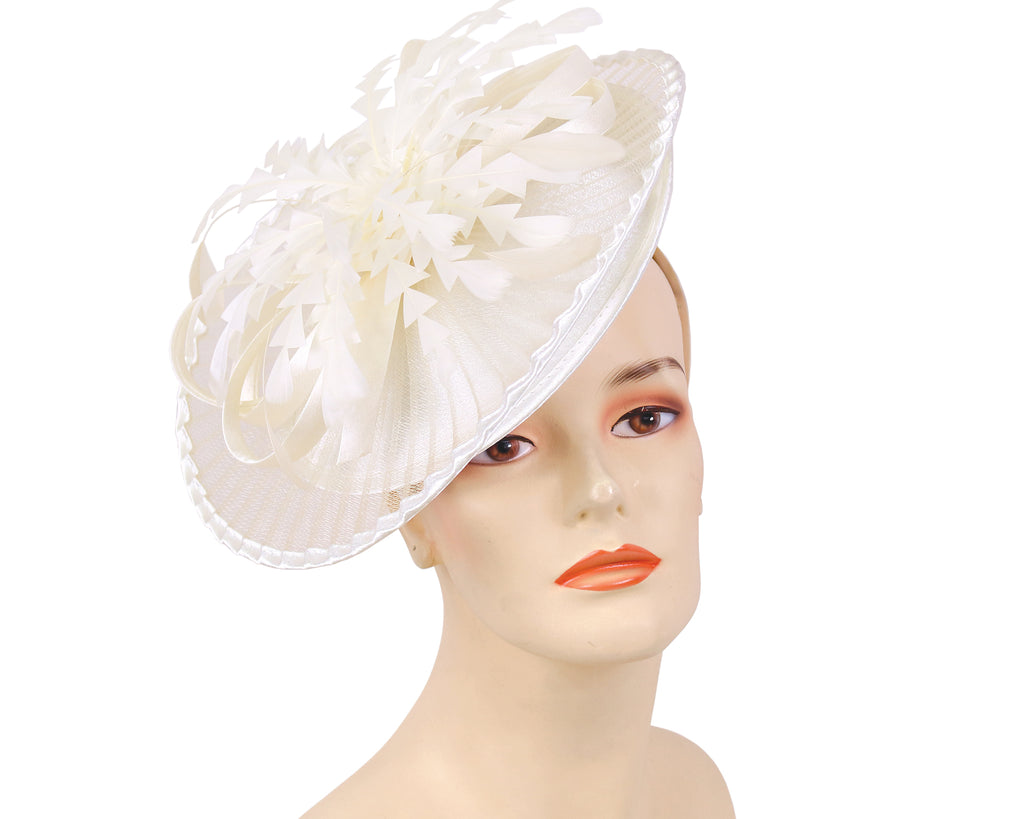 Women's Church Derby Fascinator Hats in Ivory - HL128