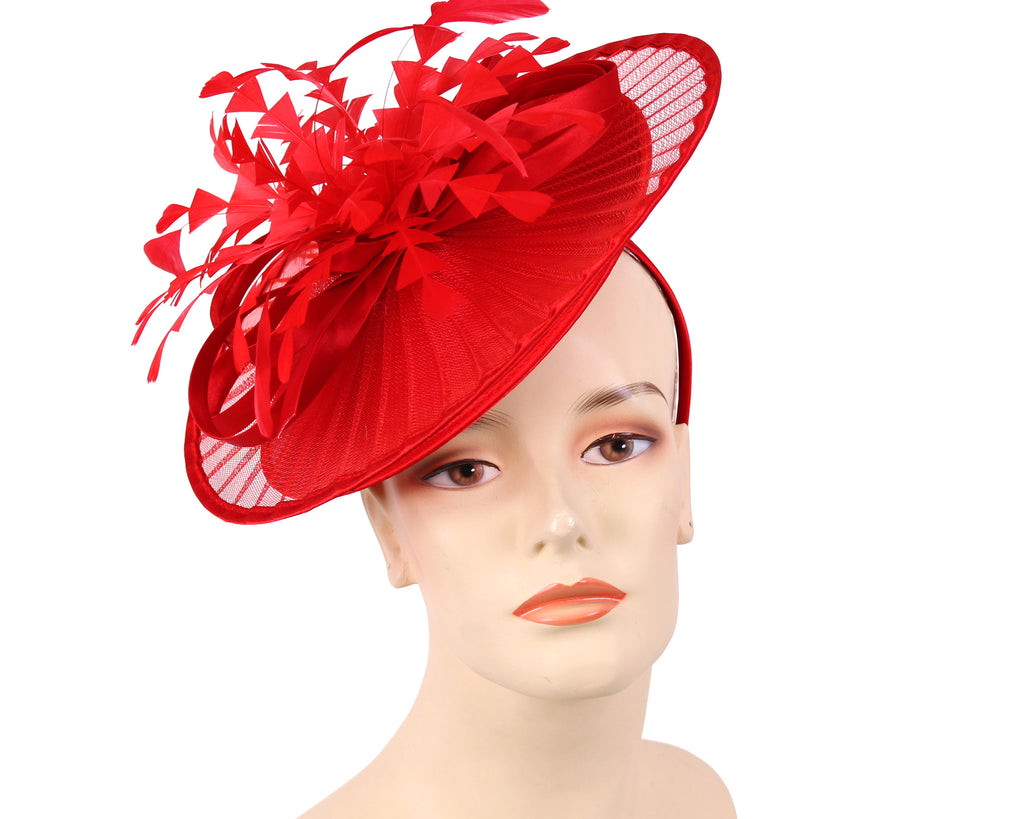 Women's Church Derby Fascinator Hats in Red - HL128