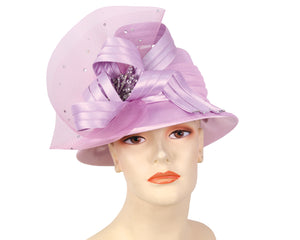 Women's Satin Church Derby Hats,  Lilac - HL134