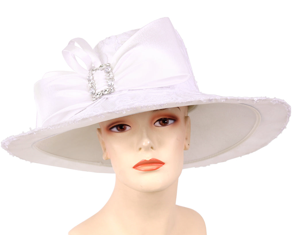 Women's Satin Dress Church Derby Hats,  White - HL135