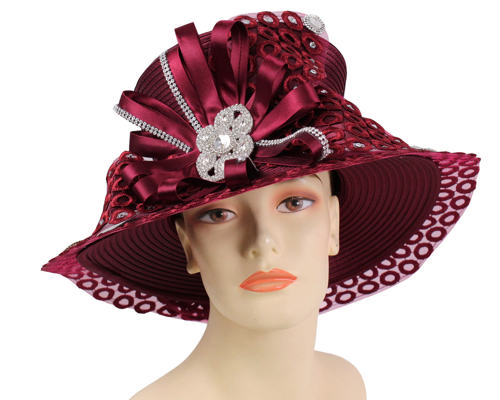 Women's Burgundy Satin Ribbon Year round Church Derby Hats with Lace brim edges