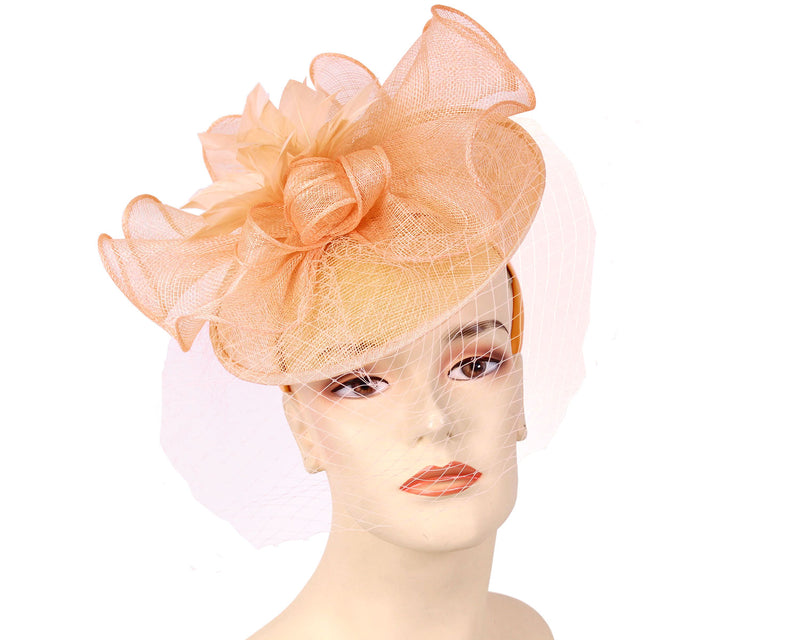 Women's Sinamay Derby Church Fascinator Hats in Peach