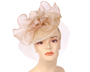 Women's Sinamay Derby Church Fascinator Hats in Blush