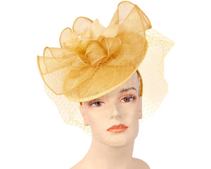 Women's Sinamay Derby Church Fascinator Hats Yellow Gold
