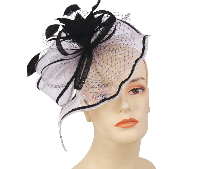 women's church derby fascinator hats in Off White and Black