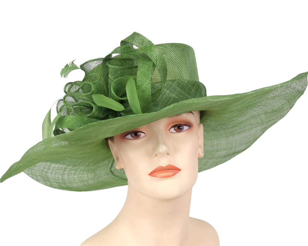 Women's Wide Brim Summer Sinamay Derby Hats in Olive Green