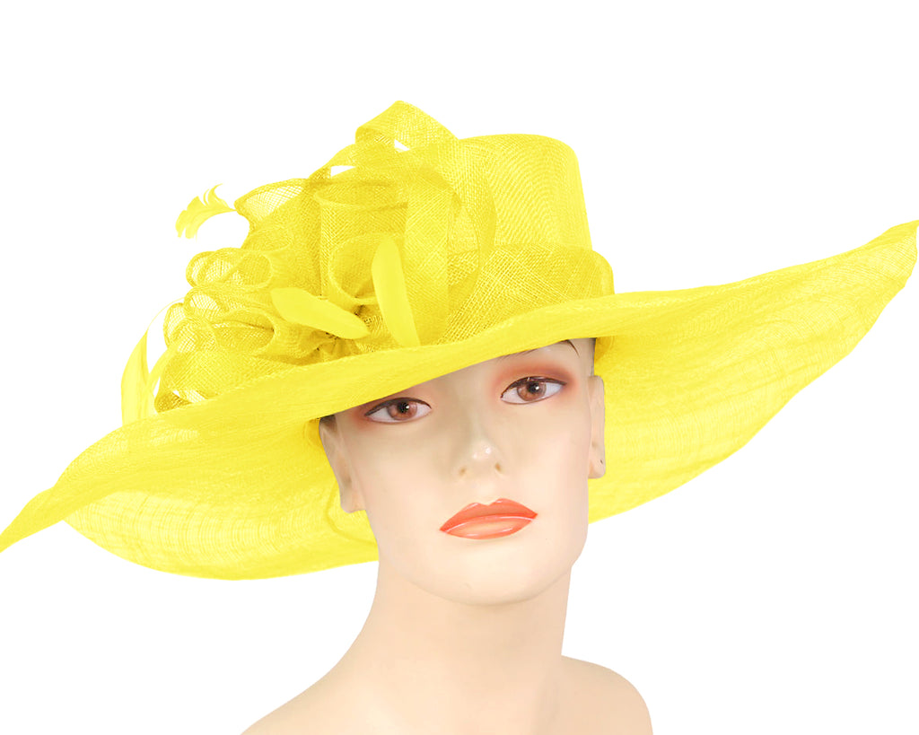 Women's Sinamay Large brim Church Derby Hats in Yellow