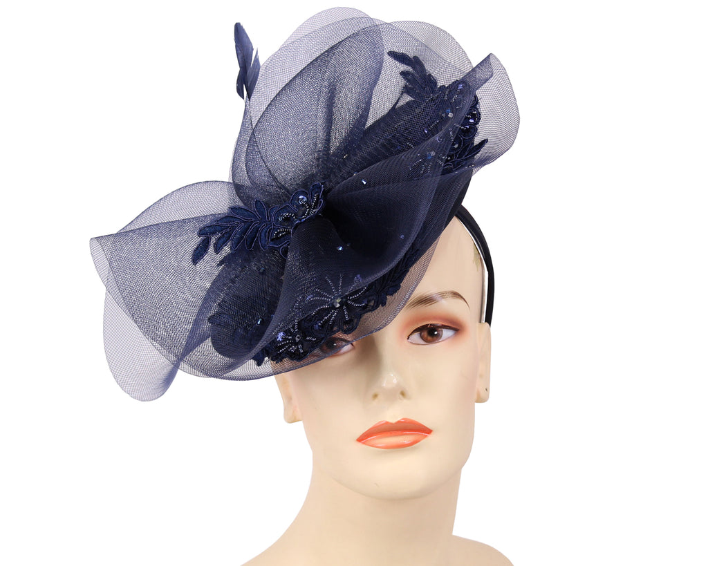 Women's Fascinator Hats in Navy Blue