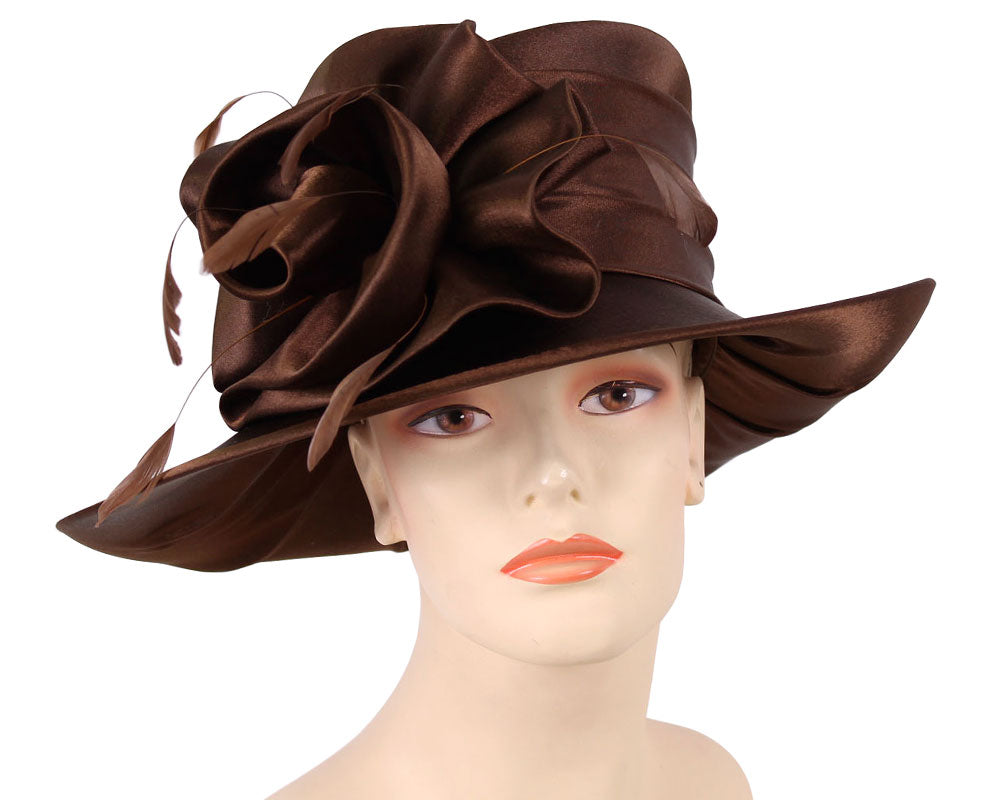 Women's Brown Satin Flower Formal Dress Church Derby Hats with Feathers