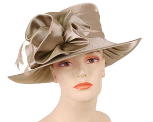 Women's Taupe Satin Flower Formal Dress Church Derby Hats with Feathers