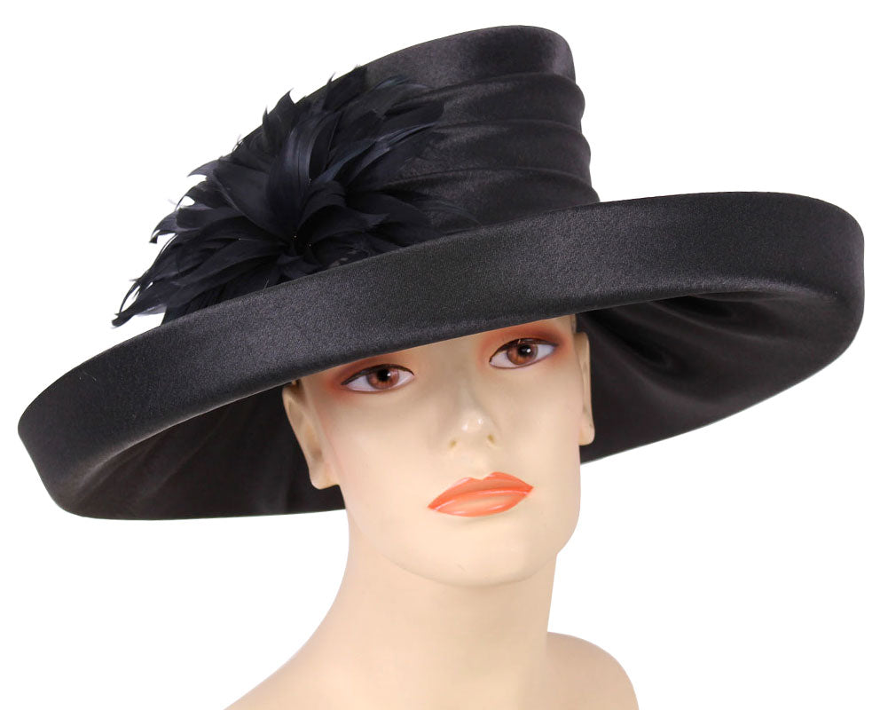 Women's Black Satin Formal Dress Church Derby Hats with Flower Feather accent