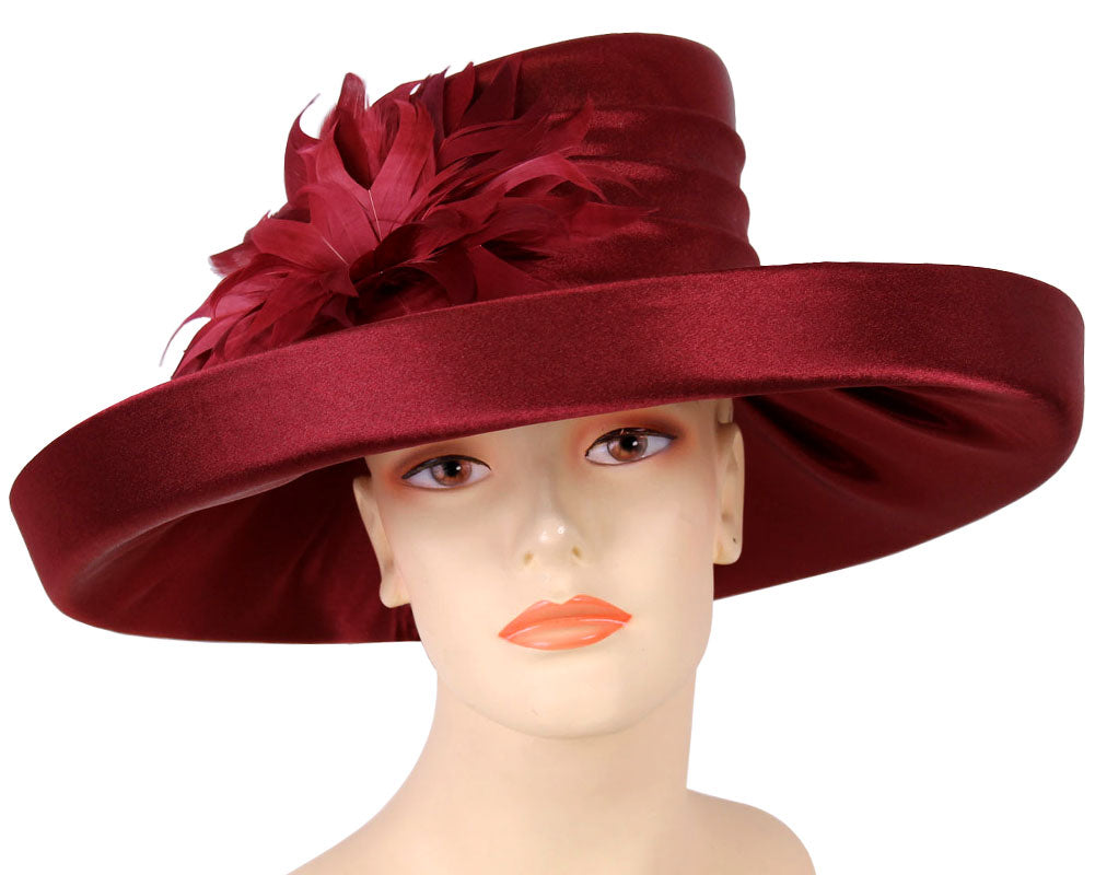Women's Burgundy Satin Formal Dress Church Derby Hats with Flower Feather accent