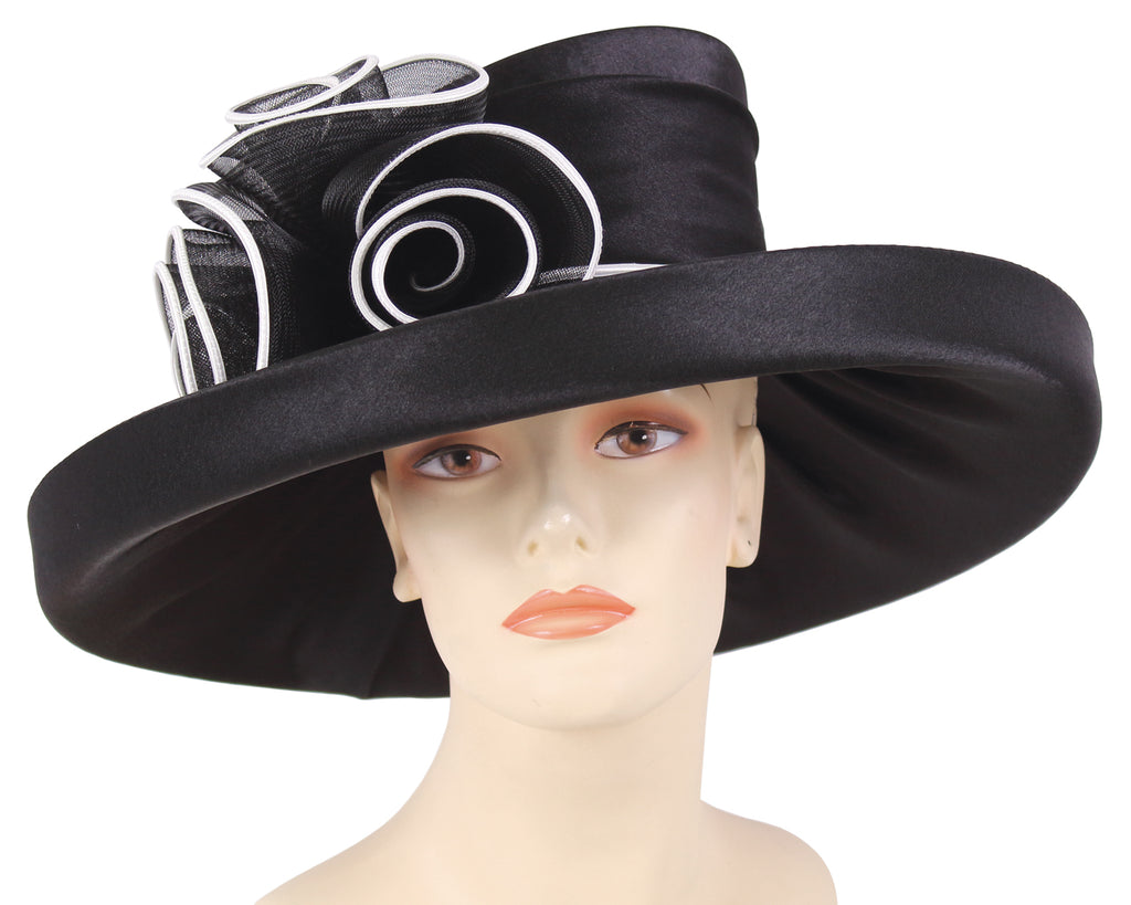Women's Satin Formal Dress Church Derby Hats in Black and White