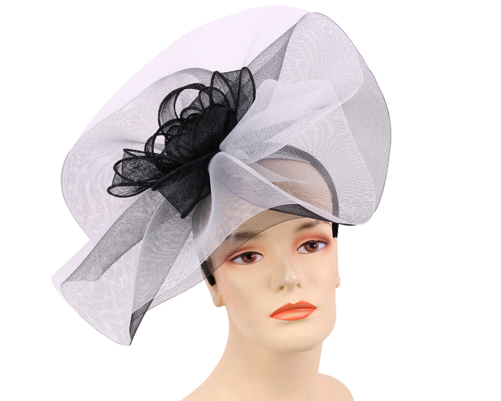 Women's Fascinator Church Derby Hats Black and White