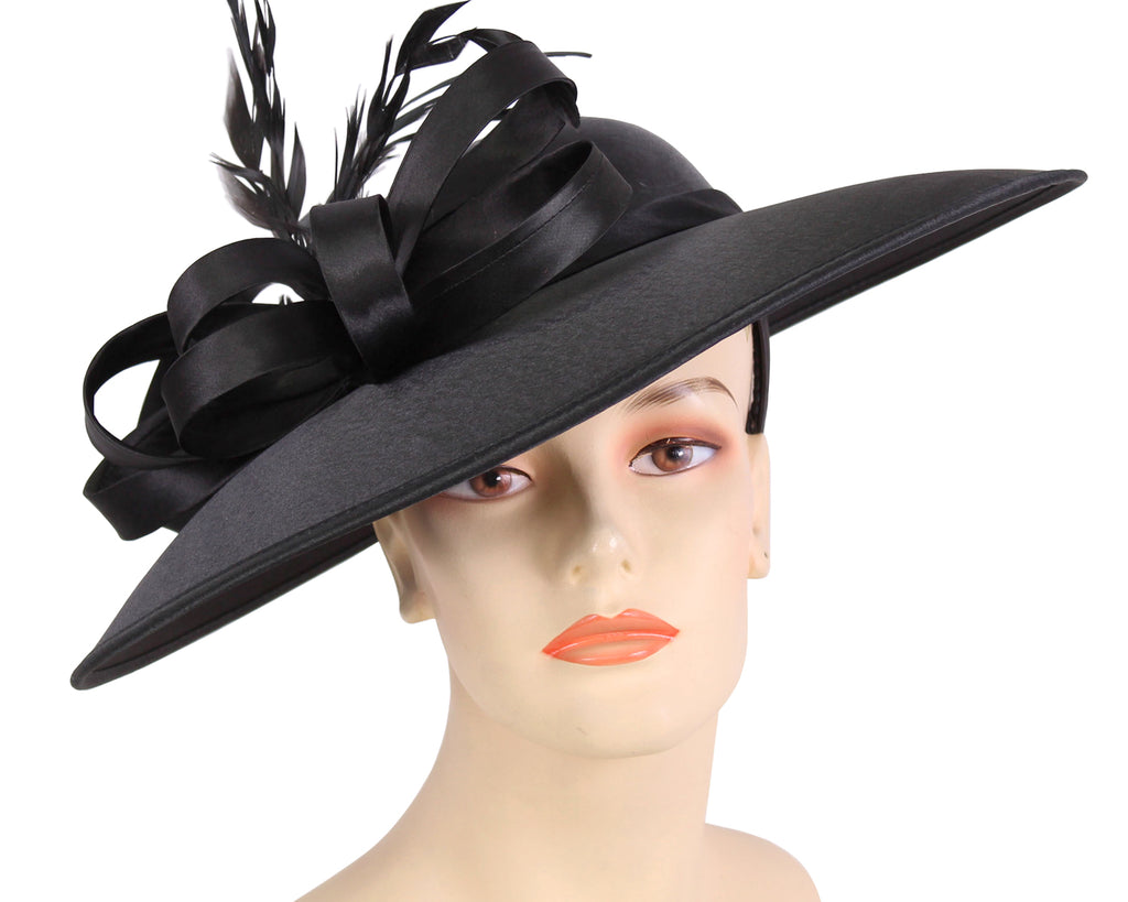 Women's Satin Formal Dress Church Derby Hats in Black