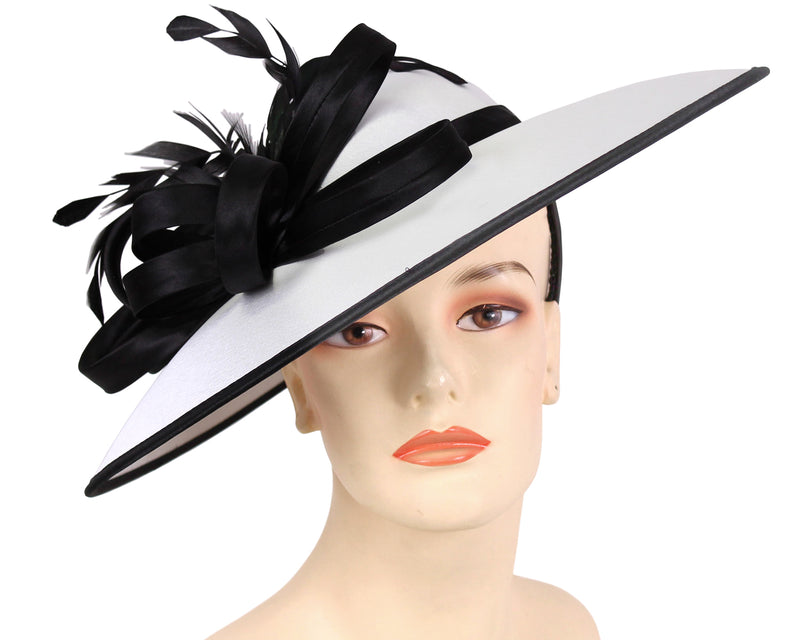 Women's Satin Formal Dress Church Derby Hats in White and Black
