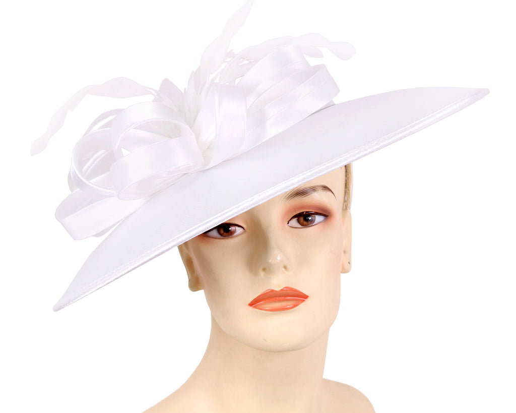 Women's Satin Formal Dress Church Derby Hats in White