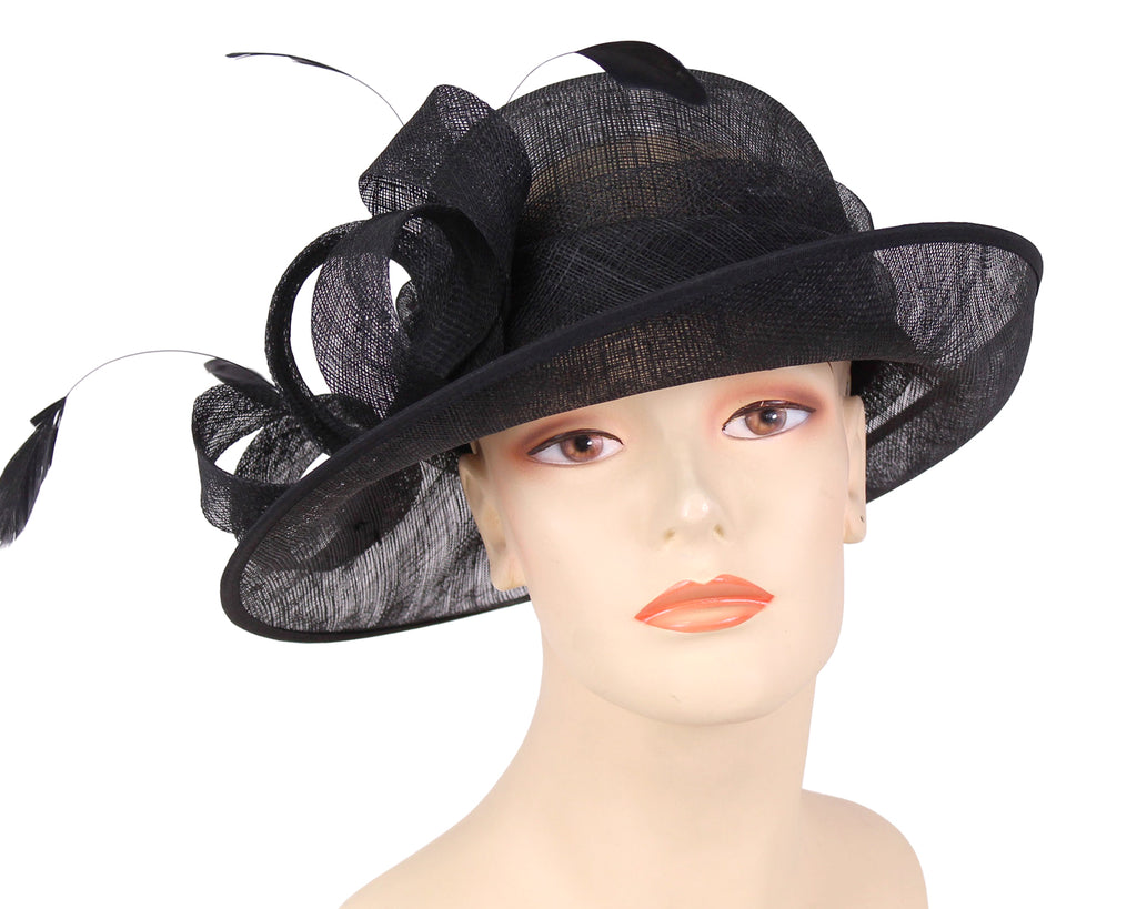 Women's Sinamay Derby Church Hats in Black