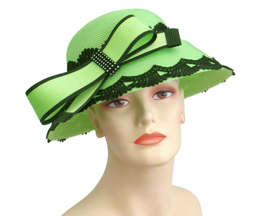 Women's Straw Church Derby Hats with Black Lace Trimmed Grooved Brim in Mint Green