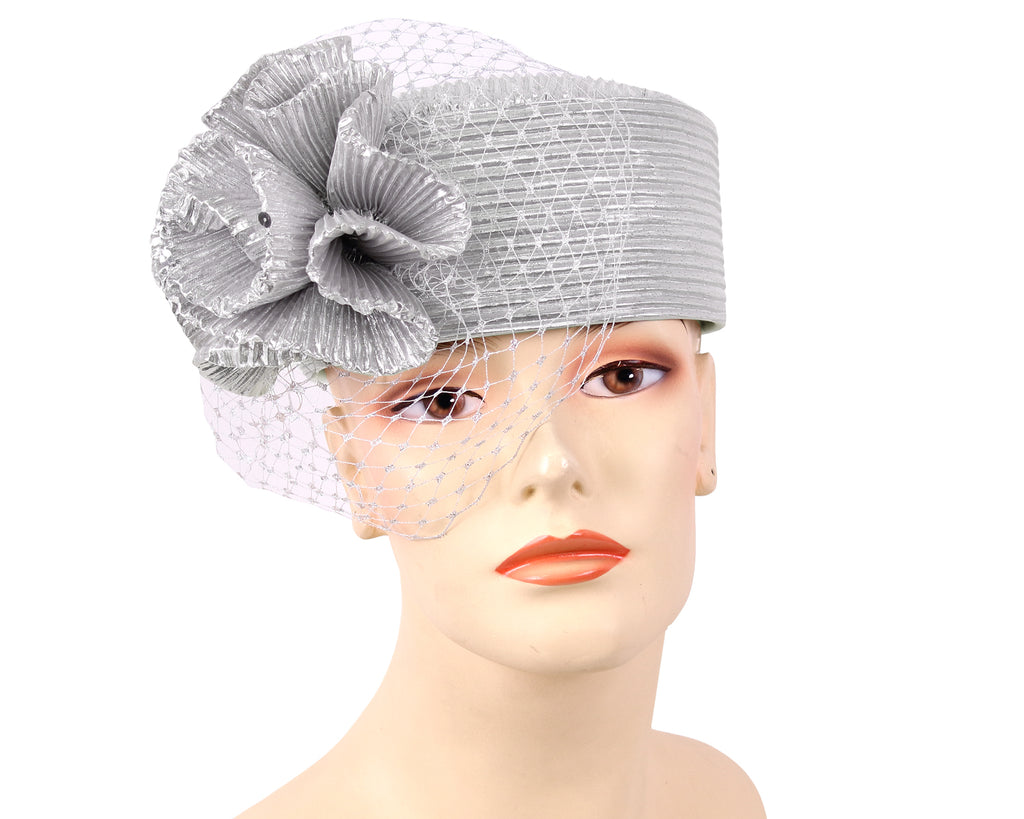 Women's Metallic Pill-box Church Hats - K015