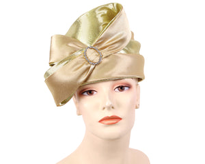 Women's Pill-box Church Hats in gold - K029