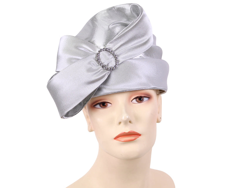 Women's Pill-box Church Hats in silver - K029