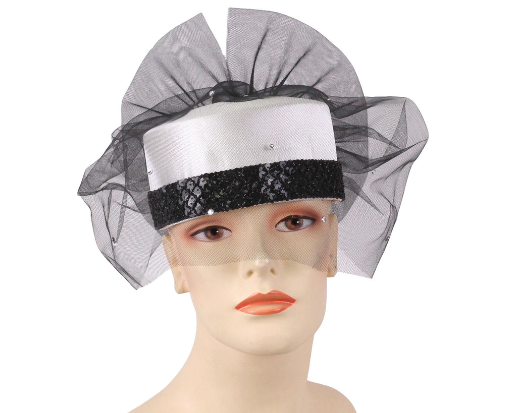 Women's Bridal Church Hats in White and Black