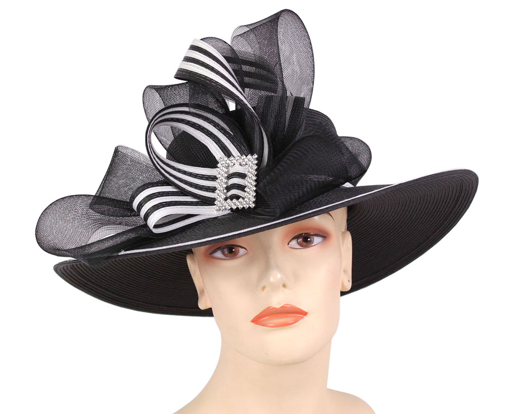 Women's black Straw Mesh White Ribbon Church Derby Hats